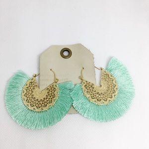 NWT Anthropologie Green Tassels Fan Earrings